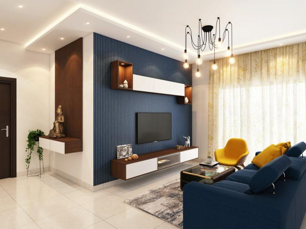 Salon w jasnych kolorach i oświetlony